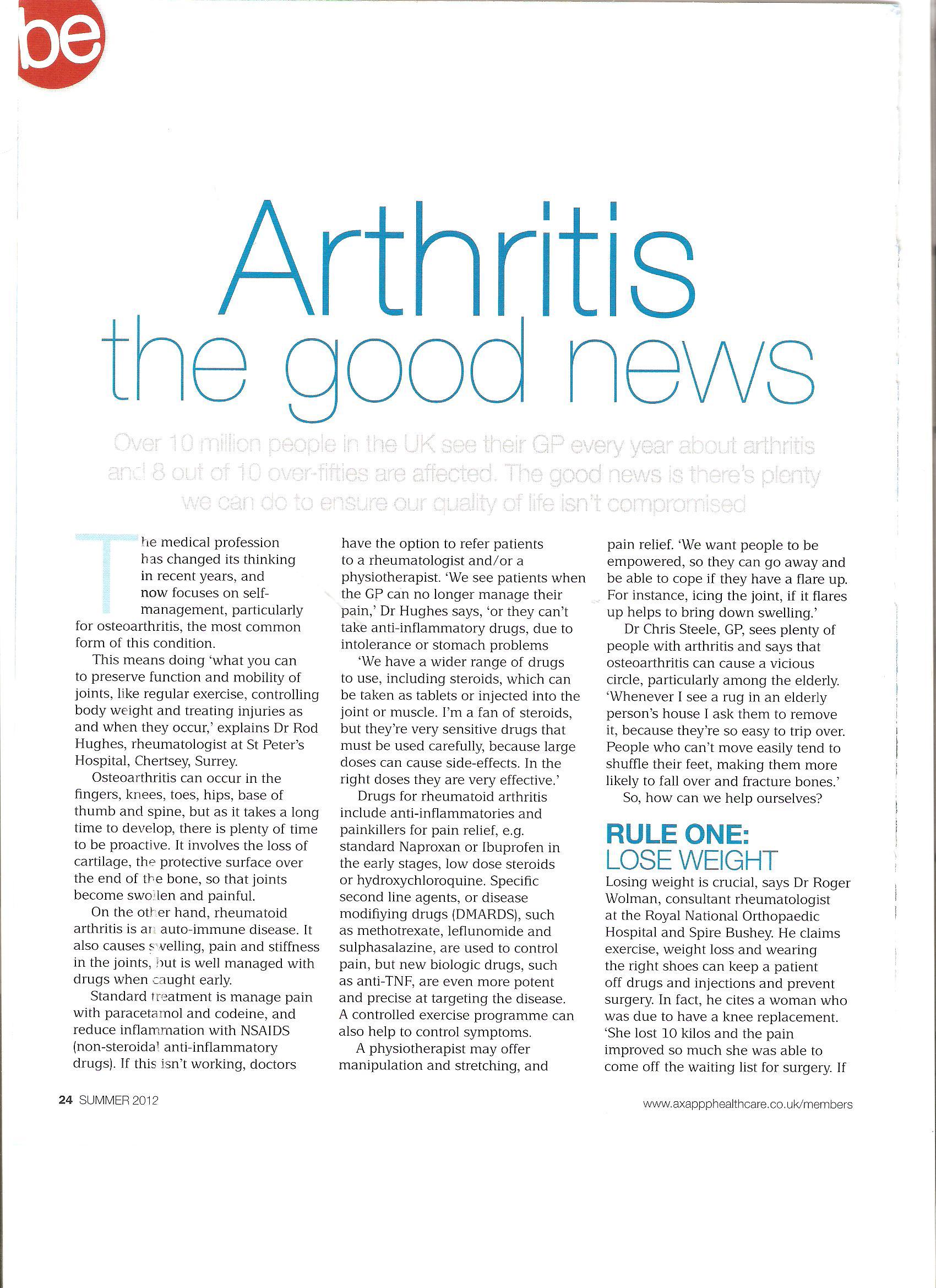Arthritis, the good news, be , AXA PPP